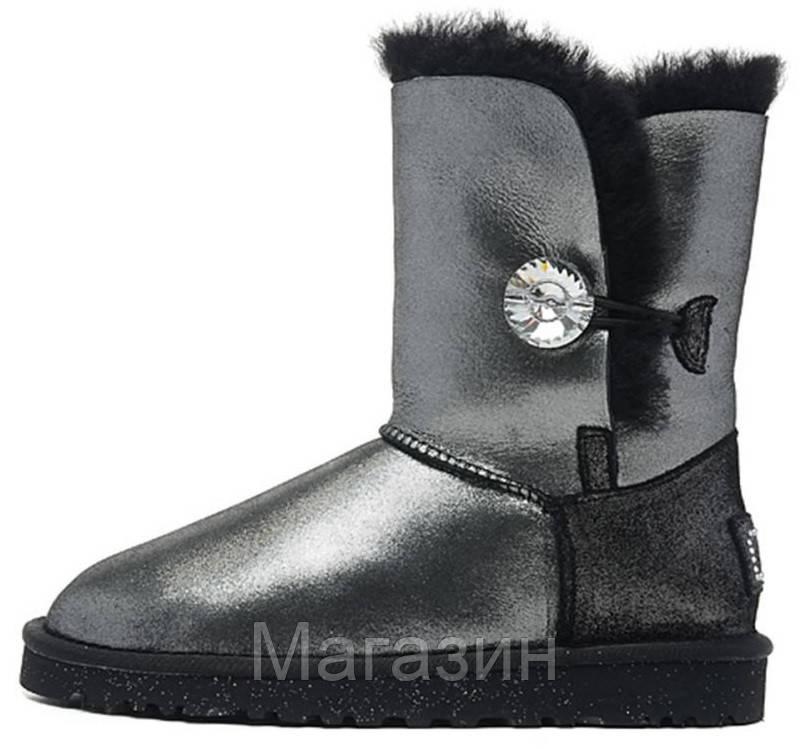 Зимние женские сапоги UGG Bailey Button I DO! Black короткие оригинальные угги австралия с кристаллом черные