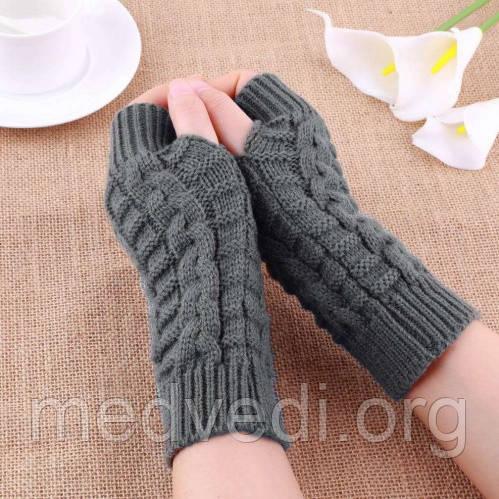 Серые вязаные митенки, перчатки без пальцев