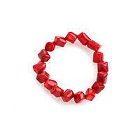 Браслет коралл рубленный красный на резинке диагональное нанизывание
