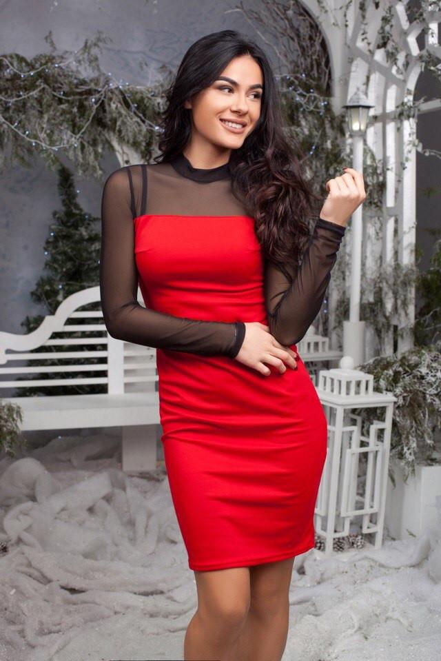 508edb1e324 Платье Ткань французский трикотаж и сетка Цвет чёрный красный Марсала Длина  98 см