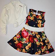 Детское платье с болеро, цветочный принт 116, 122р