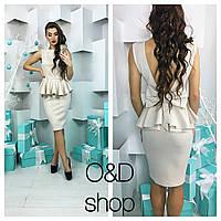 Платье с баской и открытой спиной дайвинг 5 цветов SMc995