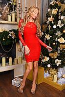 Гипюровое облегающее платье с длинным рукавом и атласным бантом на талии красное