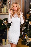 Гипюровое облегающее платье с длинным рукавом и атласным бантом на талии белое