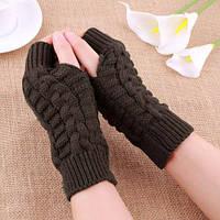 Коричневые вязаные митенки, перчатки без пальцев