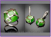 Комплект серебряных украшений с кошачьим глазом. Кольцо и серьги с кошачьим глазом