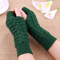 Зеленые вязаные митенки, перчатки без пальцев
