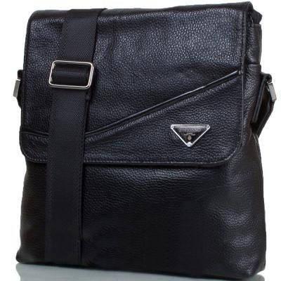 Мужская кожаная сумка черная из натуральной кожи Tofionno TF0010371, фото 2