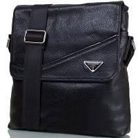 Мужская кожаная сумка черная из натуральной кожи