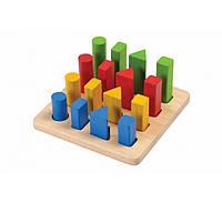 """Деревянная игрушка """"Наборная доска с геометрическими фигурами"""", PlanToys"""