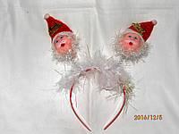 """Обруч на голову """"Санта на пружинках"""", фото 1"""