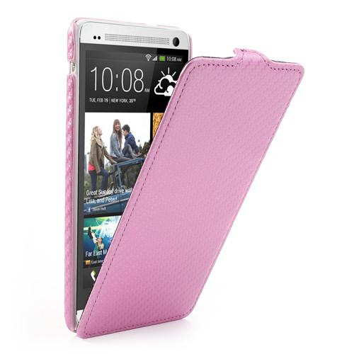 Чехол HTC ONE MAX вертикальный флип, карбон Розовый