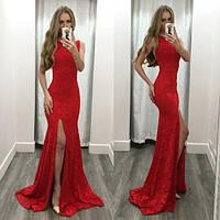 Длинное гипюровое платье в пол с разрезом