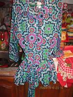 Блуза блузка кофточка легкая нарядная пояс 18-20  52-54 XL голубая шикарное качество