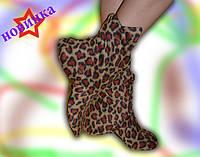 Женские тапочки сапожки леопардовые, флисовые / женские высокие тапочки сапожки, леопард