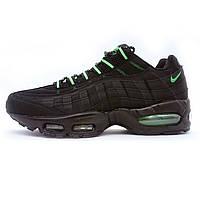 Мужские кроссовки  Найк аир макс 95 Nike air max 95  черные с зеленым 104220-002
