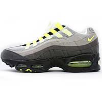 Мужские кроссовки  Найк аир макс 95 Nike air max 95 серые с салатовым 104220-003