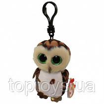 TY Детская игрушка мягконабивная Брелок Beanie Boos Коричневая сова Sammy 12 см 35005