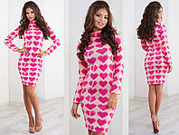 """Теплое облегающее платье-гольф из ангоры """"Сердце"""" с длинным рукавом (4 цвета)"""