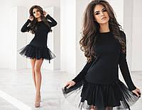 """Нарядное трикотажное мини-платье """"Minova"""" с фатиновой юбкой (3 цвета)"""