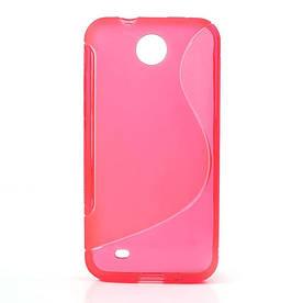 Чехол силиконовый S формы на HTC Desire 300 Zara Mini Для телефона, Панель (Накладка на корпус), Розовый