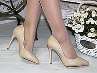 Женские туфли лодочки классические, натуральная кожа, каблук 10.5 см, бежевые / бежевые туфли  для девочек
