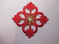 Хрестик вишитий, аплікація клейова 7,5х7,5 червоний. Крест аппликация клеевая вышивка, фото 1
