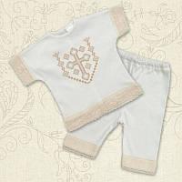 Крестильный костюм Янгол для девочки Интерлок Цвет белый, молочный рамер 56-62 Бетис