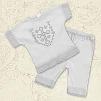 Крестильный костюм Янгол для девочки Интерлок Цвет белый, молочный рамер 68-74 Бетис