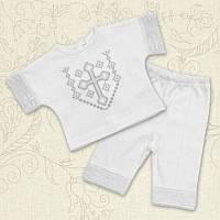 Крестильный костюм Янгол для мальчика Интерлок Цвет белый, молочный рамер 56-62 Бетис
