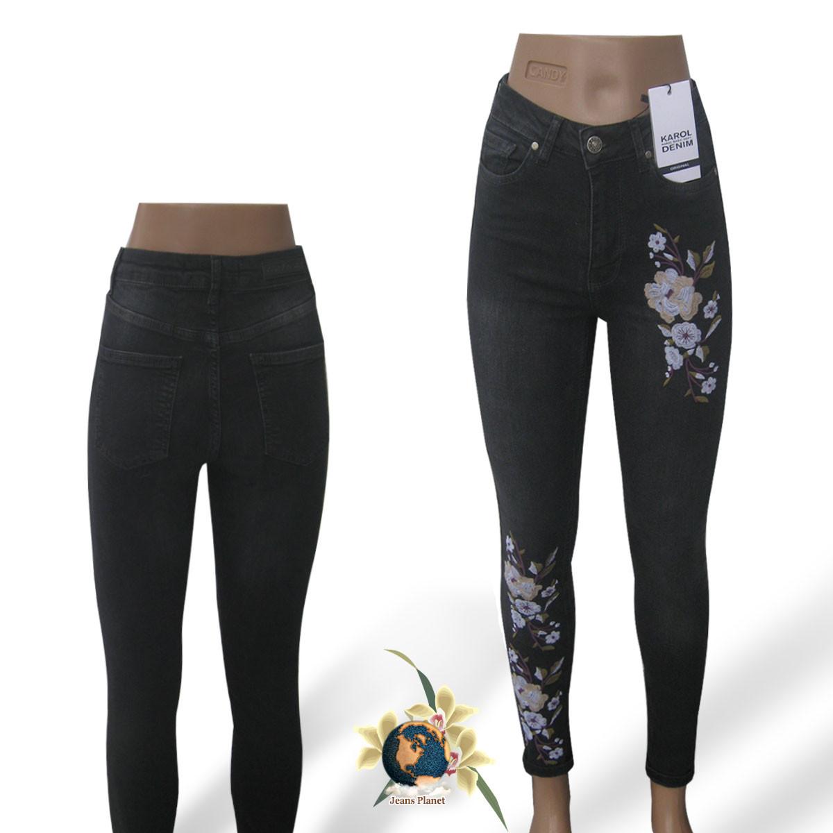 Темные джинсы с вышивкой