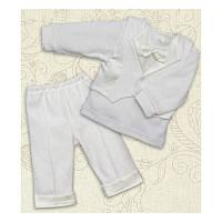 Крестильный костюм Міні Бос для мальчика Интерлок Цвет белый, молочный рамер 56-68 Бетис