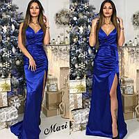 Женское стильное платье из атлас-шелка в пол (5 цветов)
