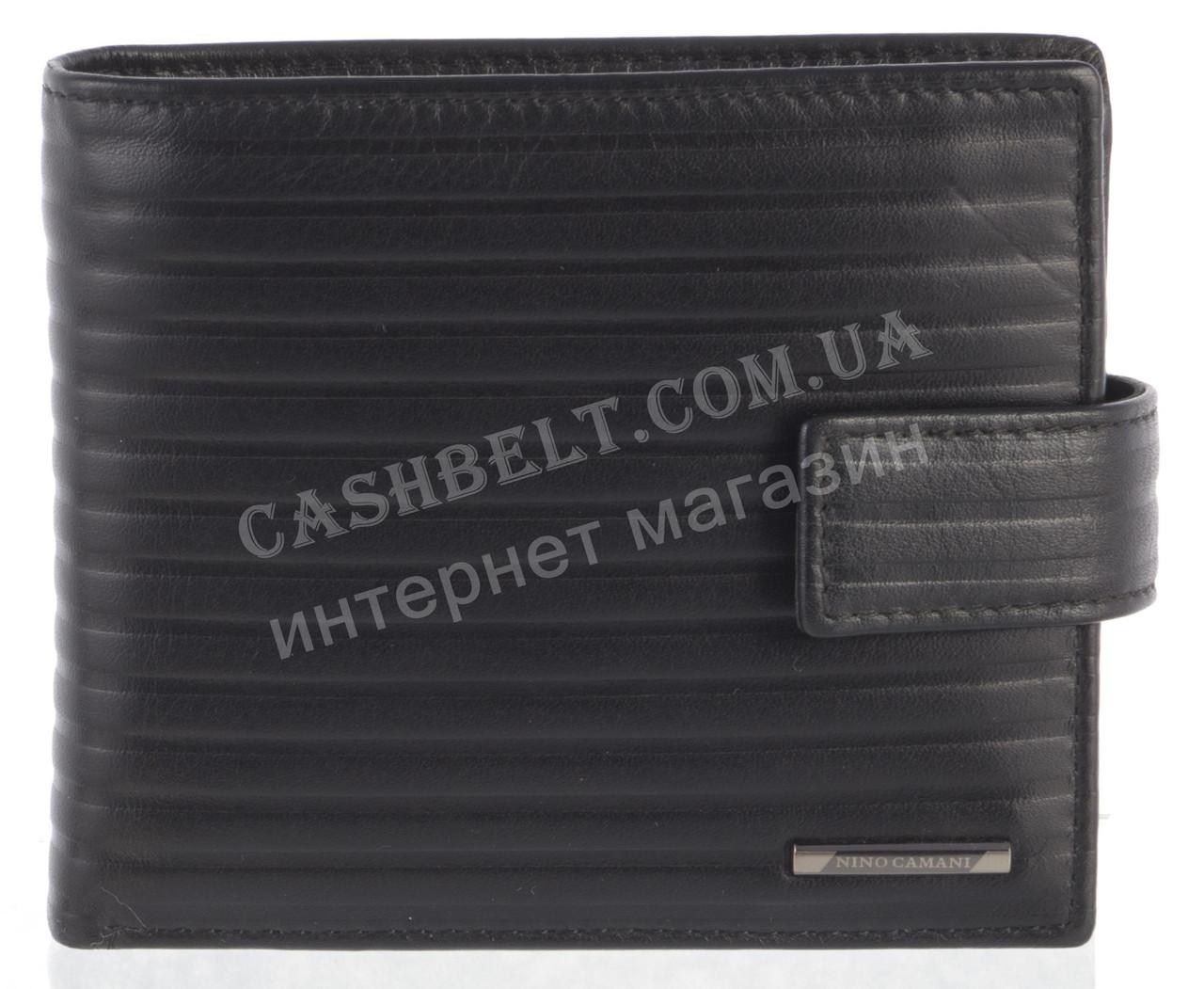 Мужской стильный классический портмоне с натуральной кожи  NINO CAMANI art. NC-1605A черный
