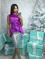 Женский модный костюм: блуза из атласа и юбка в пайетки (2 цвета)