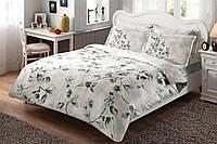 Комплект постельного белья ТАС Magnolia V01 Gri сатин де люкс 220-200 см, фото 1