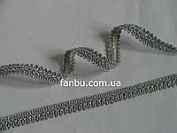 """Тесьма """"шанель-шубная""""металлизированная,цвет серебро. ширина 1.2см(1 уп-50м)"""