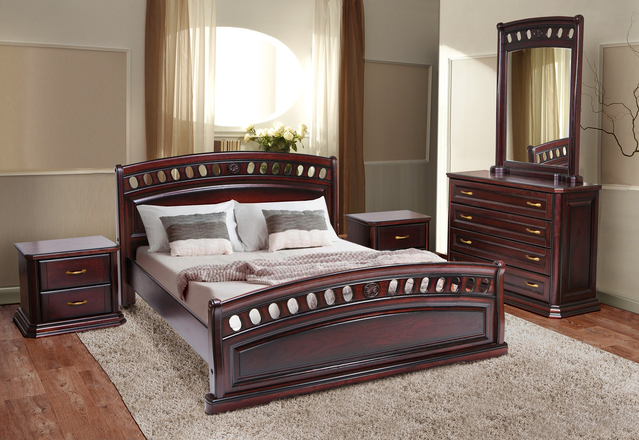 Кровать дубовая двуспальная Флоренция 1,8 м  каштан