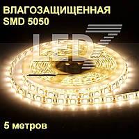 5 метров — влагозащищенная светодиодная лента 5050, 60 д/м, теплый белый, IP65