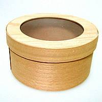 Коробка подарочная из букового шпона с прозрачной крышкой 2000 (120*120 мм)