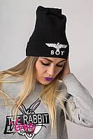"""Женская черная шапка """"BOY"""" №27-004"""
