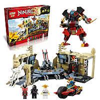 Конструктор Lepin Ninjago 06039 Битва в пещерах, 1351 деталь, 8 мини-фигурок, секретная база, байк, самолет