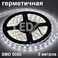 5 метров — герметичная светодиодная лента 5050, 60 д/м, белый, IP67