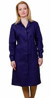 Халат рабочий женский синий, ткань бязь 100% х\б