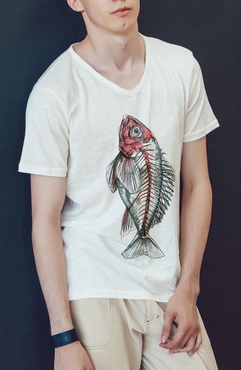 """Мужская футболка """"Скелет рыбы"""""""