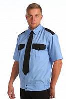 Рубашка с коротким рукавом, комбинированная, форменная