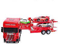 Инерционный игрушечный автовоз MS 8899 57 см, три легковых авто 14 см, пластик, для детей от 3 лет