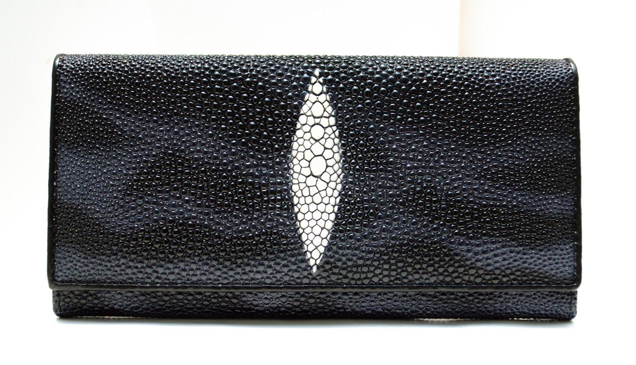 ba1c486b01a3 Стильный женский кошелек в темных тонах с внешней монетницей имитирующий  кожу ската в (12422)
