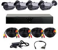 AHD комплект наблюдения на 4 уличные камеры CoVi Security HVK-3004 AHD PRO KIT, 1.3 Мп
