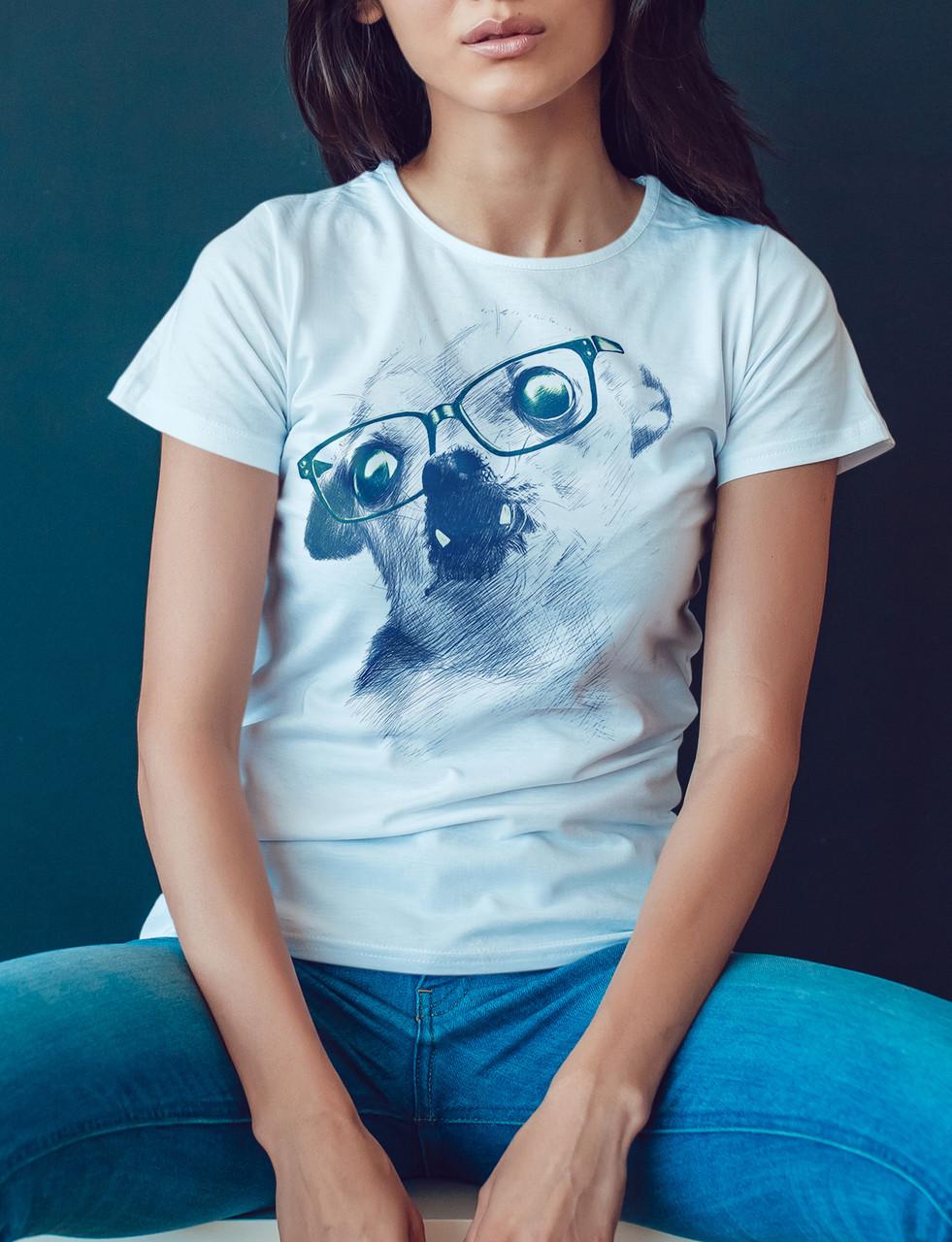 """Женская футболка """"Той терьер в очках"""""""